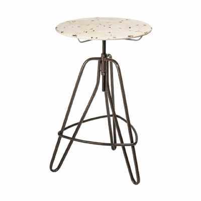 Artisan Metal Framed Adjustable Bar Table with Round Cream Top