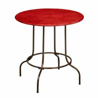 Red Top Metal Distressed Artisan Table