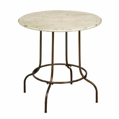 Distressed Cream Top Metal Artisan Table