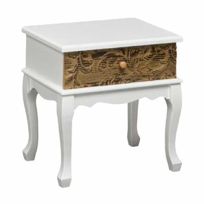 White Single Drawer Embossed Fir Wood Bali Side Table
