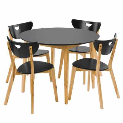 Black and Wood Fiesta Dining Set