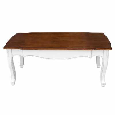 White Distressed Finished Serena Coffee Table with Dark Wood Top