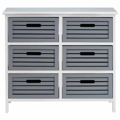 Vermont White Chest of Drawers Wash Storage Unit with 6 Grey Drawers