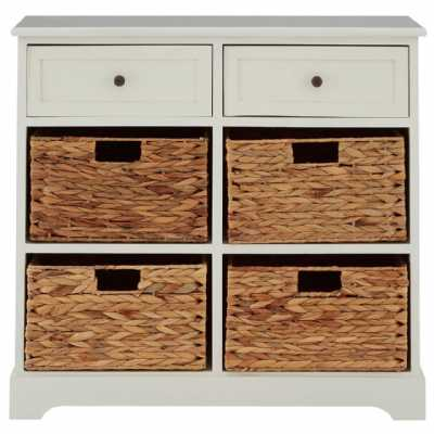 Vermont 2 Drawers Ivory Cabinet with 4 Water Hyacinth Baskets