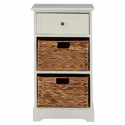Modern Ivory Vermont Cabinet with 2 Water Hyacinth Baskets