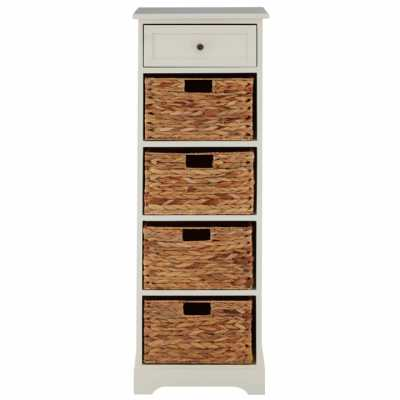 Tall Vermont Ivory Cabinet with 4 Water Hyacinth Baskets