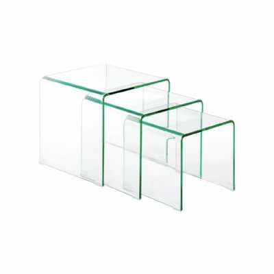 Modern Matrix Contemporary Set of 3 Clear Bent Glass Nesting Tables