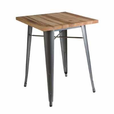 Silver Powder Coated Finish Small Aldgate Dining Table With Wooden Top