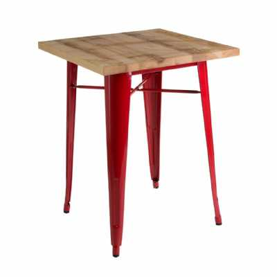 Red Coated Metal Aldgate Small Dining Table with Wooden Top