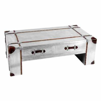 New Aviator Large Silver Industrial Aluminium 2 Drawer Coffee Table