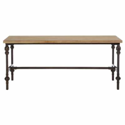 Tribeca Industrial Fir Wood Top Square Coffee Table with Metal Frame