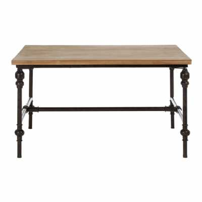 Tribeca Fir Wood Top Square Coffee Table with Metal Frame