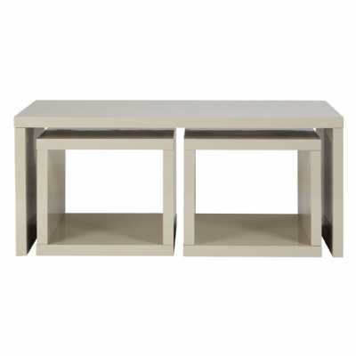 Modern Light Grey High Gloss Madrid Coffee Table With 2 Under Tables