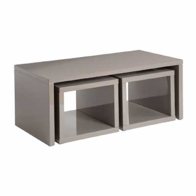 Modern Dark Grey High Gloss Madrid Coffee Table With 2 Under Tables