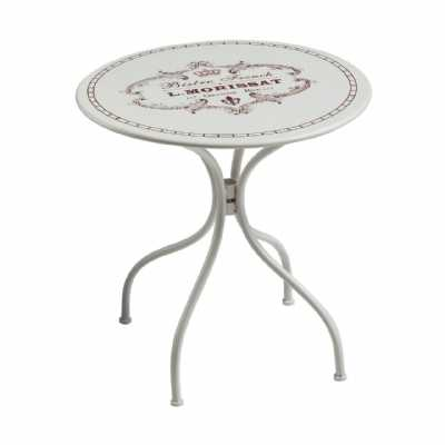 Patio Conservatory Style Small Cafe Cassis Cream Metal Table