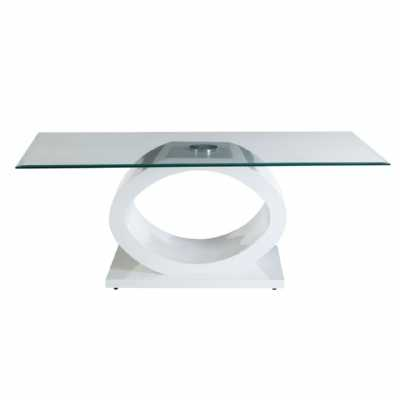 Contemporary White Base Halo Coffee Table with Tempered Glass Top