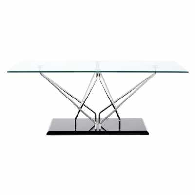 Halo Coffee Table with Tempered Glass Top And Cross Chrome Black Base