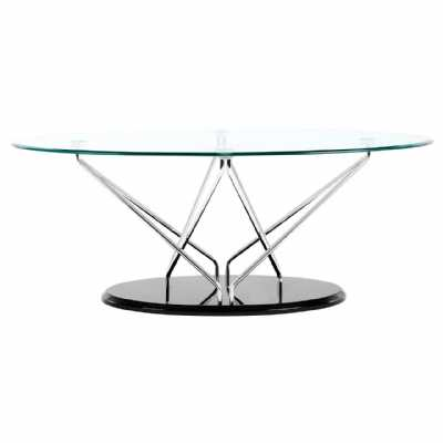Halo Oval Coffee Table Tempered Glass Top Cross Chrome Black Base
