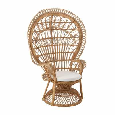 Woodstock Bohemian Style Peacock Chair in Natural Rattan