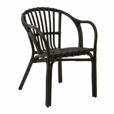 Modern Havana Low Black Rattan Armchair