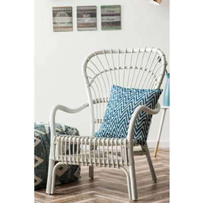 Havana White Painted Rattan Relax Conservatory Easy Armchair High Back