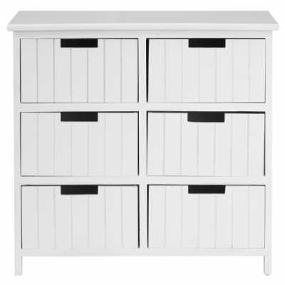 Premier Housewares Fifty Five South New England Six Drawer Chest White