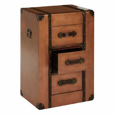 Copper 3 Drawer Chest of Drawers with Brown Leather Handles and Trim