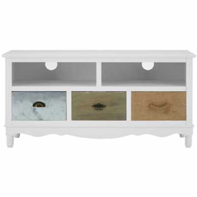 Weymouth White Beach House Media TV Unit with 3 Storage Drawers