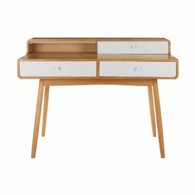 Trending Malmo Retro White Oak Veneer 3 Drawer Desk with Angled Legs