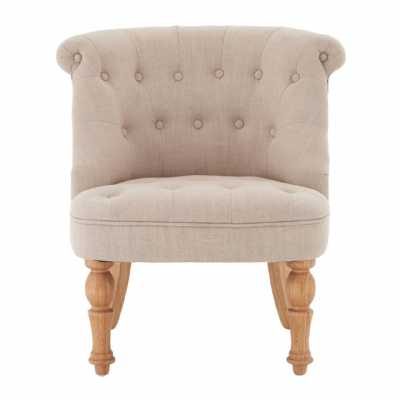 Pair of Belgravia Buttoned Back Natural Linen Mix Tuft Accent Chairs
