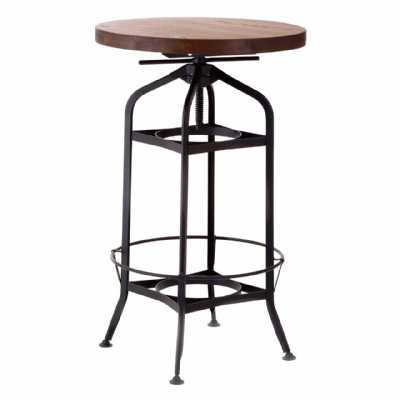 New Foundry Walnut Wood Top Adjustable Bar Table with Metal Frame