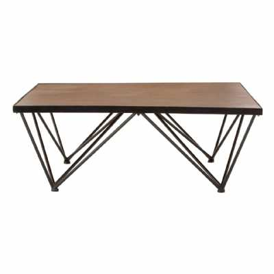 New Foundry Industrial Style Fir Wood and Metal Coffee Table