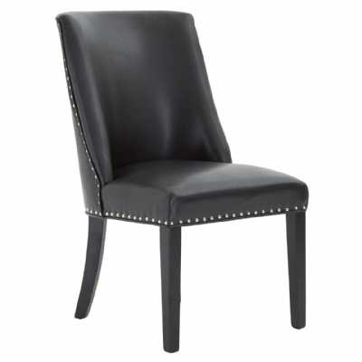Rodeo Ring Back Dining Chair in Black Leather Effect with Stud Detail
