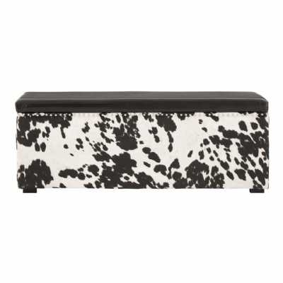 Rodeo Black and White Cowhide Storage Bench with Leather Effect Top