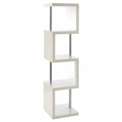 Contemporary Slim Design Contour 4 Square Tier White Gloss Shelf Unit