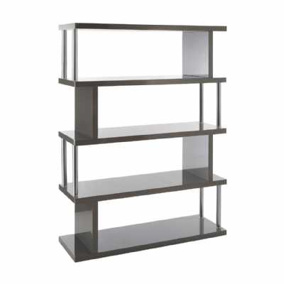 Contemporary Contour 4 Tier Grey Open Wide Gloss Shelf Unit 5ft Tall