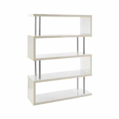 Modern Contour 4 Tier White Gloss Stainless Steel Wide Shelf Unit