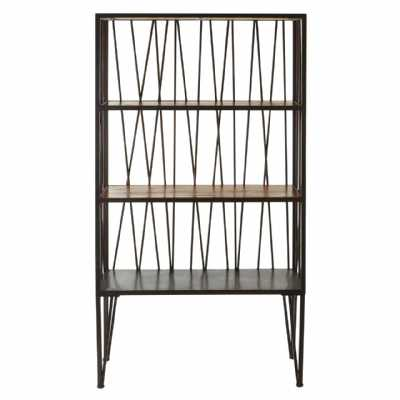 New Foundry Industrial Metal framed Shelf Unit with Wooden Shelves