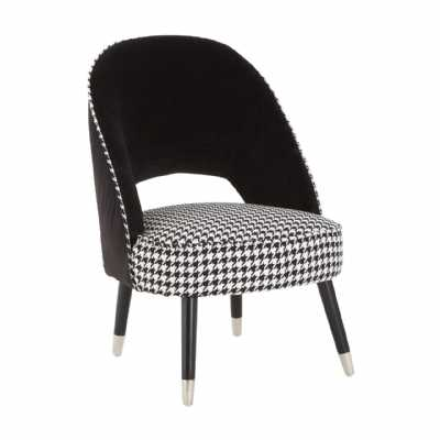 Regents Park Two Tone Black and White Chequered Chair Velvet Dogtooth