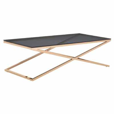 Modern Large Stainless Steel Gold Criss Cross Coffee Table Glass Top
