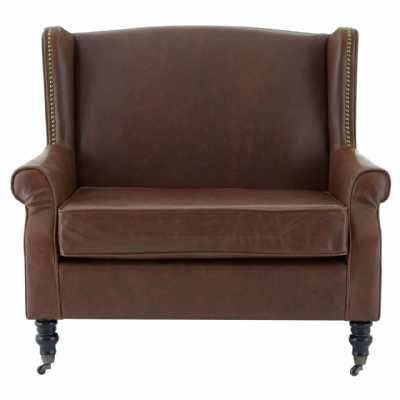 Brown Leather Effect Fulham Double Love Seat Wing Chair