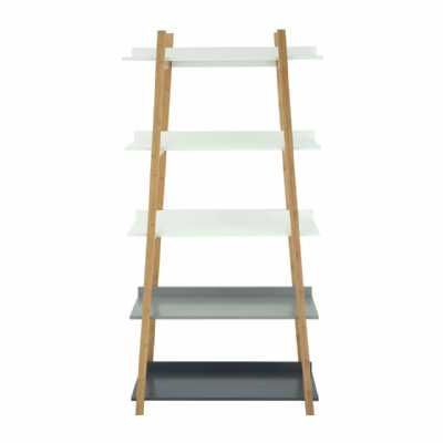 Modern Gradient 5 Tier Nostra Shelf Unit with Bamboo Frame