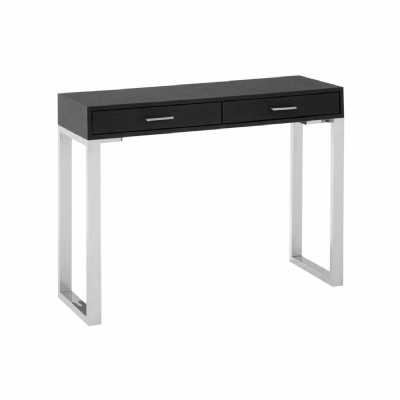 Console Table Black Faux Leather Shark Skin with 2 Drawers Silver Legs