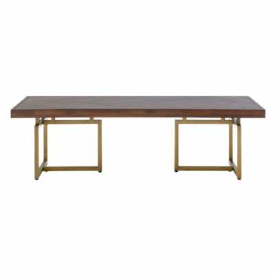 Large Rectangular Brando Brown Rustic Wood Antique Brass Coffee Table