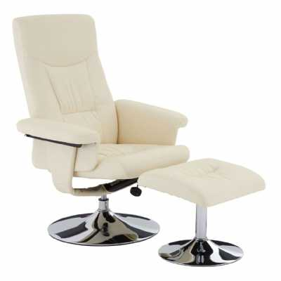 White Leather Effect Recliner Chair With Crome Base and Footstool