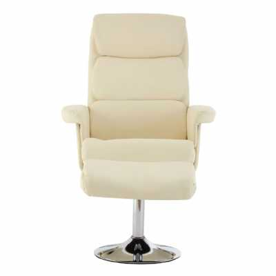 White Leather Effect Recliner Chair With Footstool in Modern Design