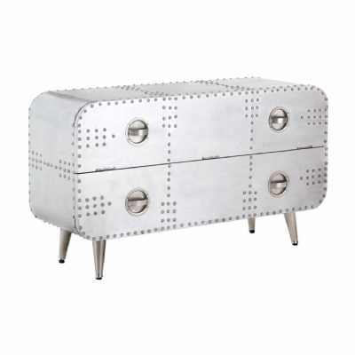 Aluminium Aviator Large 2 Drawer Chest with Drop Down Front Section
