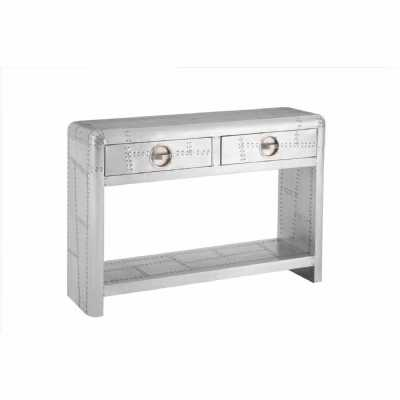 New Aviator Aluminium Patchwork Style Large 2 Drawers Console Table