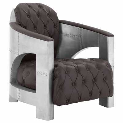 New Avro Aluminium And Padded Brown Faux Leather Armchair with Buttons