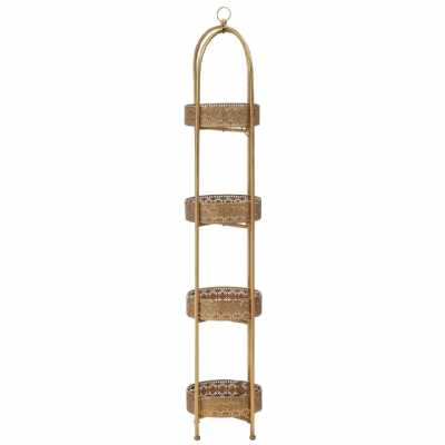 Reza Ornate Weathered Gold Iron Frame 4 Tiers Tray Shelves